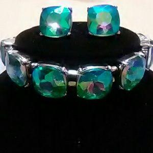Jewelry - Aquamarine Aurora Borealis Bracelet Set